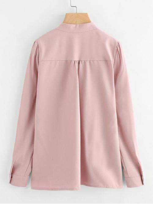Beautiful Long Sleeve Top Beaded Polyester Mock Neck Pleated Detail Shirt