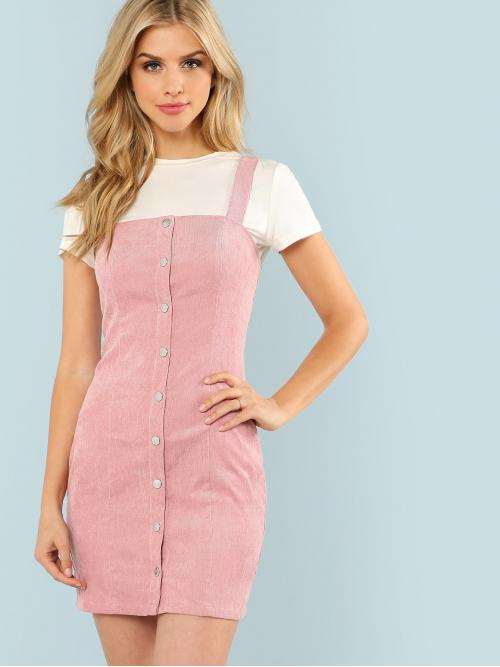Preppy Pinafore Plain Regular Fit Straps Sleeveless Natural Pink Short Length Button Through Cord Overall Dress