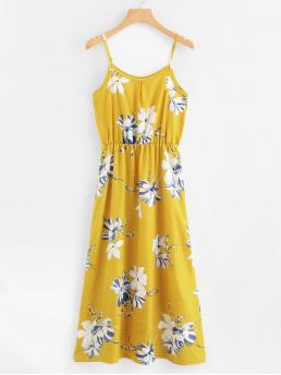 Casual Cami Floral Straight Loose Spaghetti Strap Sleeveless High Waist Yellow Long Length Floral Print Cami Sundress