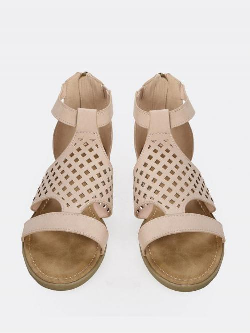Women's Corduroy Apricot Strappy Sandals Cut out Laser Sandals