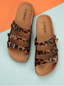 Open Toe Leopard Multicolor Leopard Three Buckle Sandals
