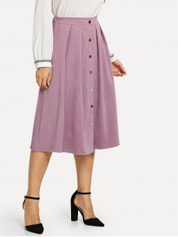 Cheap Purple Natural Waist Button Flared Front Pleated