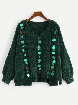 Casual Contrast Sequin Plain Regular Fit V neck Long Sleeve Green Regular Length Plus Sequin Detail Stepped Hem Chenille Sweater