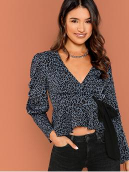 Casual Leopard Peplum Regular Fit V neck Long Sleeve Blue Regular Length Waist Tie V-Neck Leopard Print Puff Sleeve Blouse with Lining