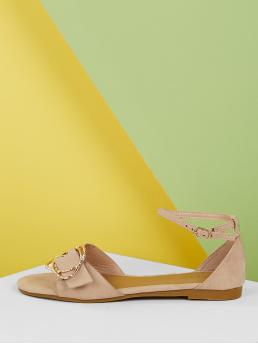 Comfort Open Toe Ankle Strap Nude Belted Buckle Strap Ankle Band Ballet Flats