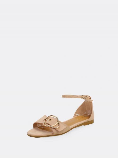 Polyester Apricot Top Contrast Lace Buckle Strap Ankle Band Ballet Flats Clearance