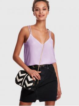 Casual Cami Plain Regular Fit Spaghetti Strap Purple and Pastel Regular Length Cross Back Strappy Cami Top