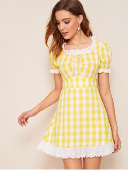 Preppy A Line Gingham Regular Fit Scoop Neck Short Sleeve Puff Sleeve High Waist Yellow Short Length Lace Insert Ruffle Trim Gingham Dress with Lining