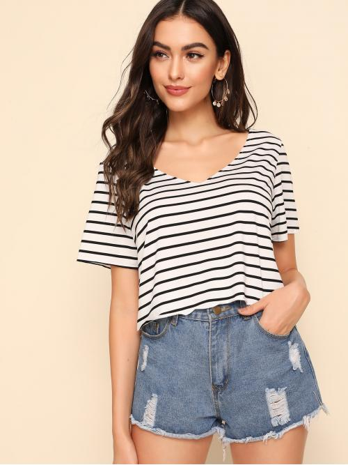 Casual Striped Regular Fit Round Neck Short Sleeve Pullovers Black and White Regular Length Short Sleeve Striped Top