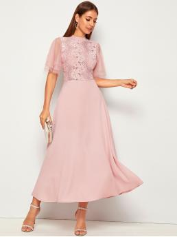 Elegant A Line Plain Flared Regular Fit Stand Collar Half Sleeve Layered Sleeve High Waist Pink and Pastel Long Length Dobby Mesh Sleeve Lace Bodice Fit and Flare Dress