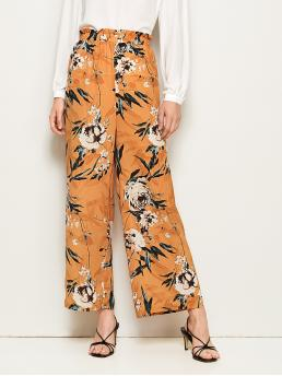 Boho Floral and Plants Wide Leg Regular Elastic Waist High Waist Orange Long Length Botanical Print Paperbag Waist Wide Leg Pants