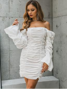 Glamorous Fitted Plain Pencil Regular Fit Off the Shoulder Long Sleeve Natural White Short Length Glamaker Gathered Sleeve Ruched Bardot Dress
