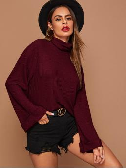 Casual Plain Regular Fit Funnel Neck Extra-Long Sleeve Roll Up Sleeve Pullovers Burgundy Regular Length Funnel Neck Cuffed Sleeve Waffle Knit Tee