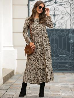 Casual A Line All Over Print Flounce Loose Round Neck Long Sleeve Regular Sleeve Natural Khaki Long Length Ruffle Hem All Over Print Dress