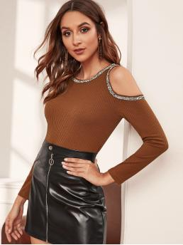 Casual Regular Fit Round Neck Long Sleeve Pullovers Brown Regular Length Contrast Binding Cold Shoulder Ribbed Tee