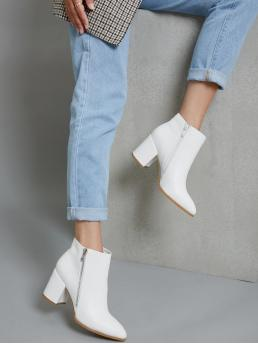 White Classic Boots High Heel Chunky Faux Leather Zippered Ankle Booties Clearance