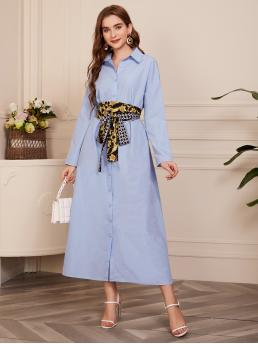 Baby Blue Chain Print Button Front Collar Single Breasted Shirt Dress with Belt Fashion