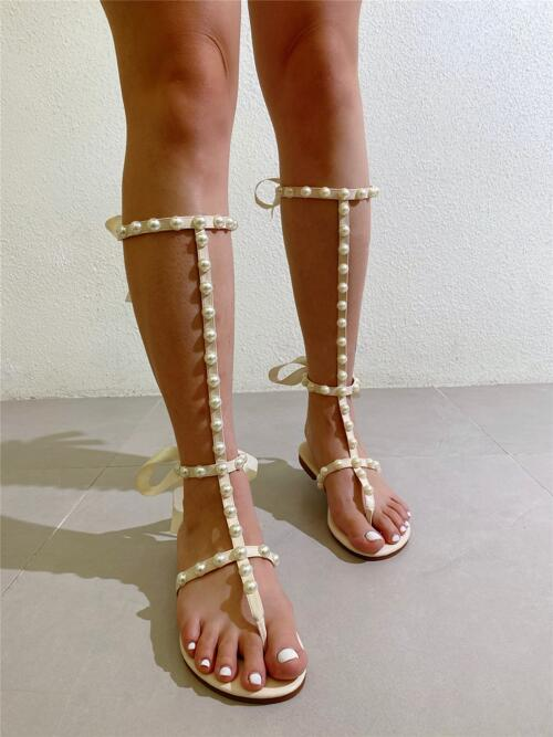 Faux Pearl Decor Gladiator Sandals Shopping