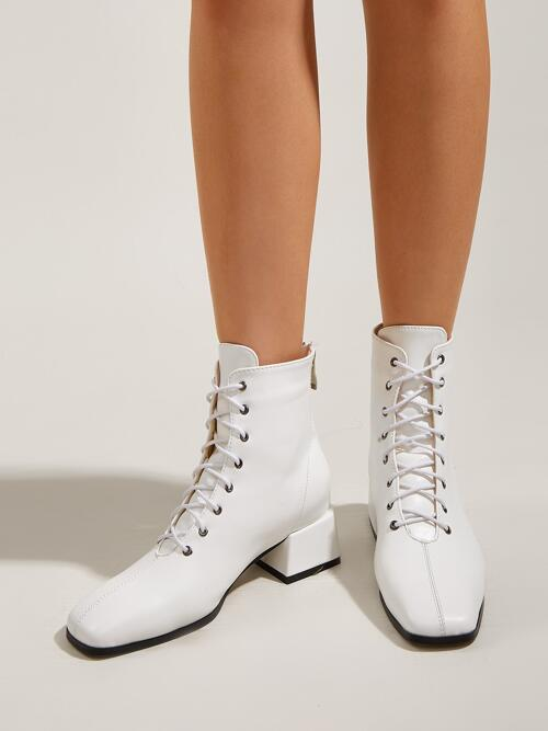 Beautiful White Mid Heel Ankle Boots Pu Leather Minimalist Front Chunky Heeled Boots