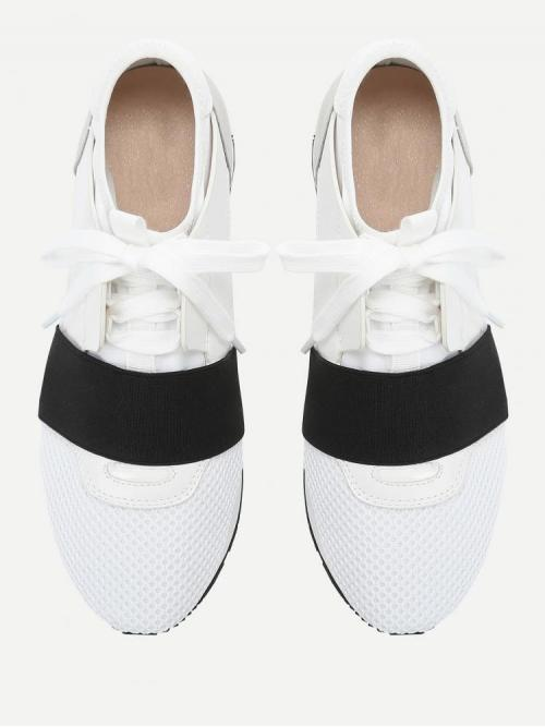 Ladies Corduroy Black and White Running Shoes Embroidery Net Surface Sneakers