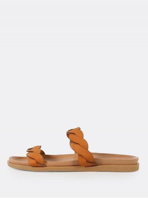 Corduroy Brown Thong Sandals Buckle Twisted Double Band Slide Sandal Tan Fashion