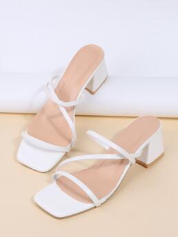 Womens White Pu Leather Rubber Pu Leather Minimalist Chunky Heeled Strappy Sandals