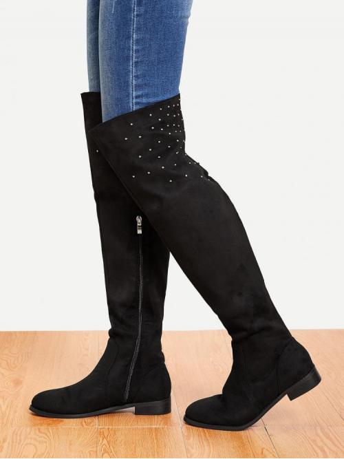 Corduroy Black Stretch Boots Studded Rivet Detail over the Affordable