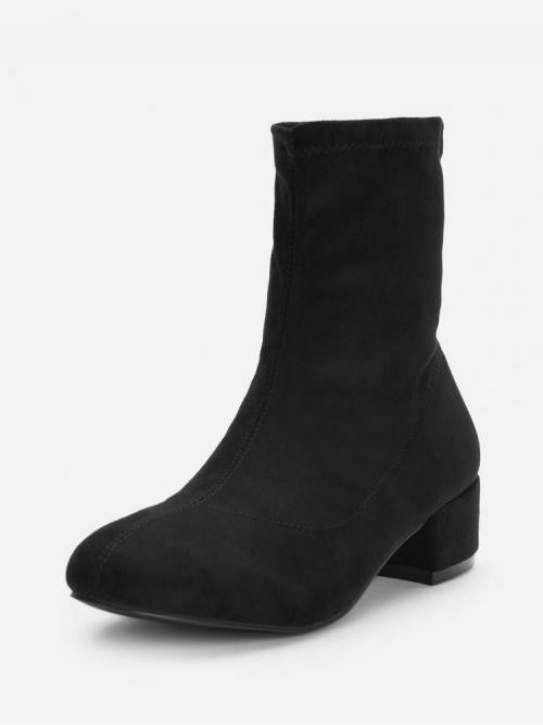 Trending now Corduroy Black Stretch Boots Bow Block Heeled Boots