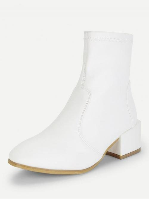 Corduroy White Stretch Boots Buckle Plain Block Heeled Boots Pretty