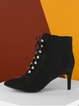 Elegant Lace-up Boots Point Toe Plain Side zipper Black High Heel Stiletto Lace Up Front Pointed Toe Stiletto Heel Booties