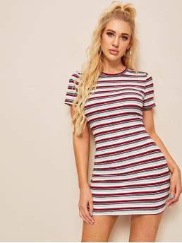 Casual Bodycon Striped Slim Fit Round Neck Short Sleeve Natural Multicolor Mini Length Rib Knit Striped Sheath Dress