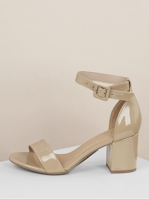 Business Casual Plain Ankle Strap Nude Mid Heel Chunky Patent Open Toe Ankle Strap Block Heels