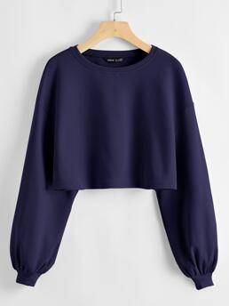 Long Sleeve Rib-knit Polyester Plain Solid Top Discount