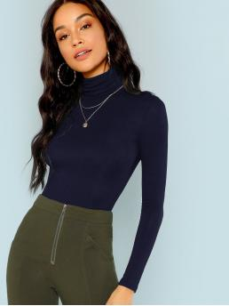 Sale Long Sleeve Rayon Plain Navy Blue Turtle Neck Solid Form Fitted Top