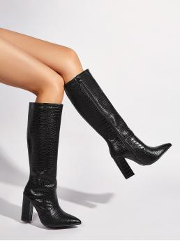 Women's Black Classic Boots High Heel Chunky Croc Embossed Heeled Boots