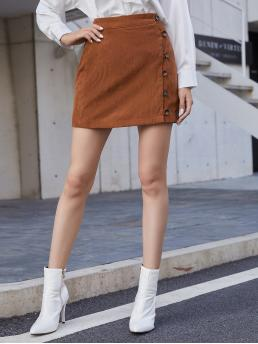 Brown Natural Waist Button Front Straight Button Side Skirt Clearance