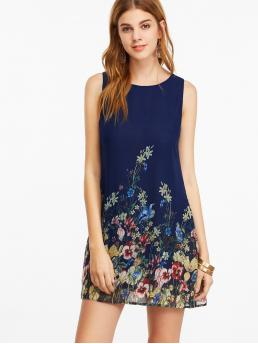 Casual Tunic Floral Loose Round Neck Sleeveless Multicolor Short Length Buttoned Keyhole Back Flower Tank Dress