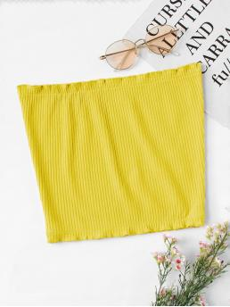 Casual Plain Slim Fit Yellow Crop Length Frill Trim Ribbed Bandeau Top