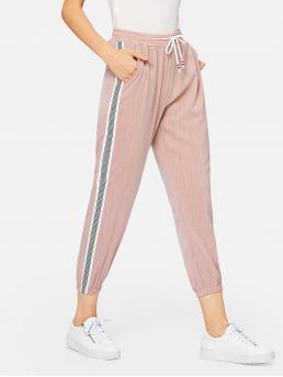 Sporty Striped Sweatpant Regular Drawstring Waist Mid Waist Pink Cropped Length Striped Side Drawstring Waist Pants