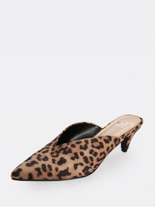 Trending now Corduroy Multicolor Mules Cut out Cone Heel