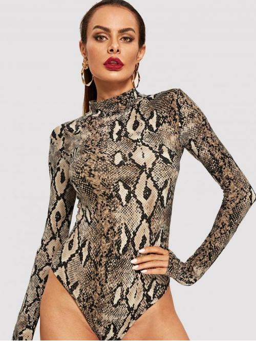 Long Sleeve Tube Backless Rayon Snake Print Bodysuit Discount