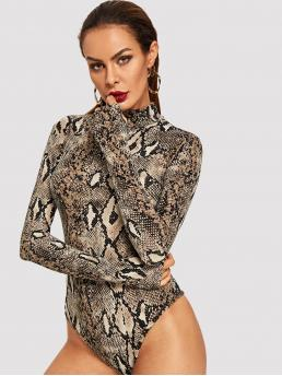 Elegant Animal Regular Stand Collar Long Sleeve High Waist Multicolor Snake Print Bodysuit