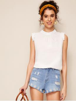 Cute Plain Top Regular Fit Stand Collar Sleeveless Pullovers White Regular Length Keyhole Back Frill Trim Sleeveless Top