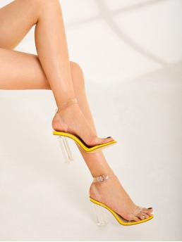 Glamorous Ankle Strap Yellow and Bright Open Toe Ankle Strap Chunky Heels