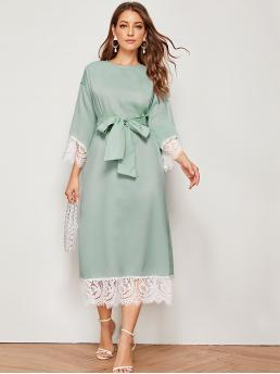 Elegant Tunic Straight Loose Round Neck Three Quarter Length Sleeve Regular Sleeve High Waist Green Long Length Contrast Lace Trim Belted Tunic Dress with Belt