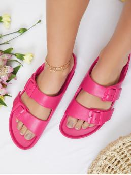 Trending now Hot Pink Footbedsandals Open Toe Polyfoam Twin Buckle Band Footbed Slide Sandals