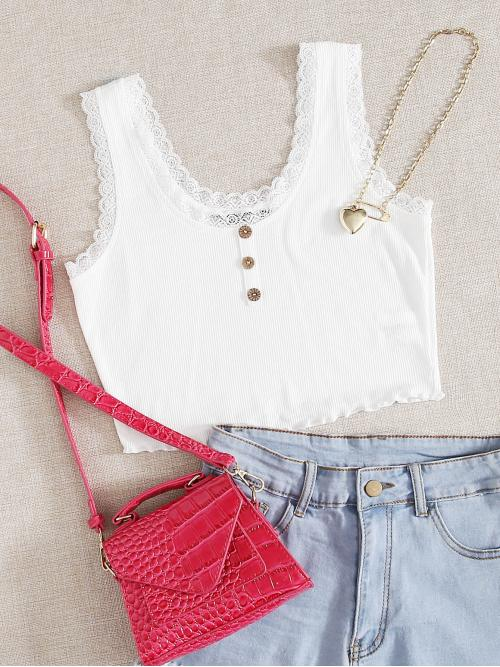 Casual Tank Plain Slim Fit Scoop Neck White Crop Length Button Front Lace Edge Rib-knit Tank Top