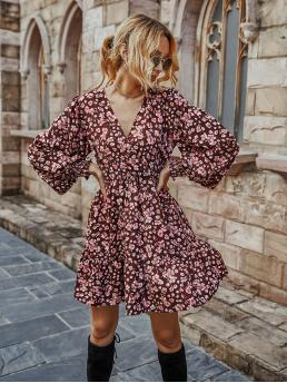 Maroon all over Print Shirred V Neck Floral Print Surplice Neck Ruffle Hem Dress Ladies
