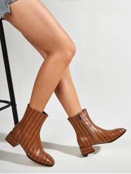 Women's Brown Low Heel Chunky Square Toe Block Heeled Ankle Boots