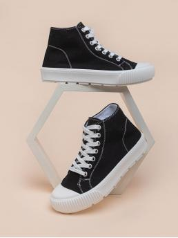 Black Canvas High-top Canvas Front High Top Shoes Fashion